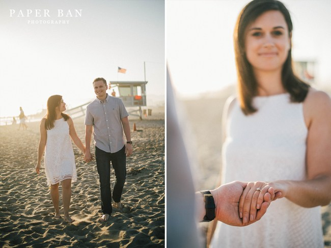Santa Monica Pier engagement portraits
