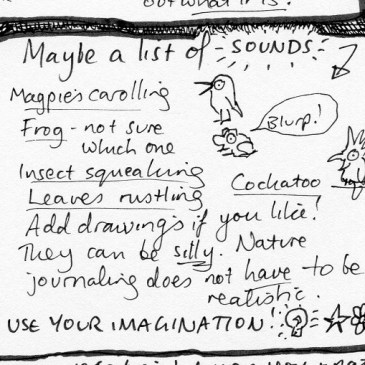 Ideas sheet for nature journaling