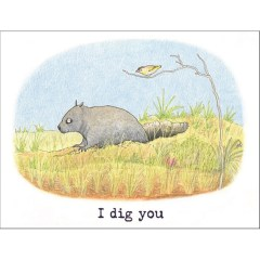 Wombat and pardalote card