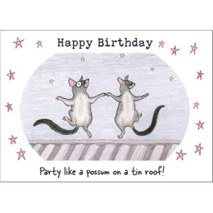 Possums dancing card
