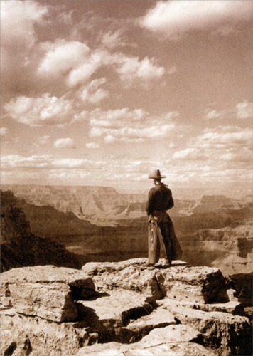 Cowboy Looking Into Canyon America Collection Thank You