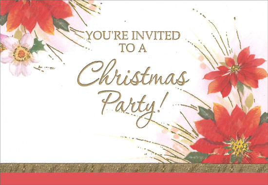 Poinsettias Christmas Party Invitations 8 Pack By