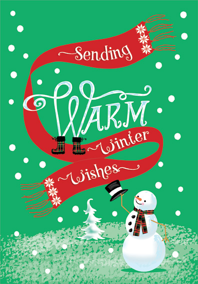Warm Winter Wishes Snowman Christmas Card By Designer