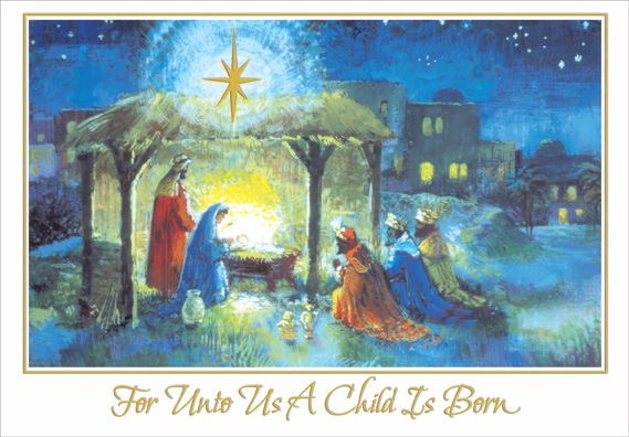 Wise Men At Stable Religious Christmas Card By Designer