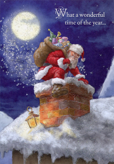 Santa Climbing Down Chimney Christmas Card By Designer