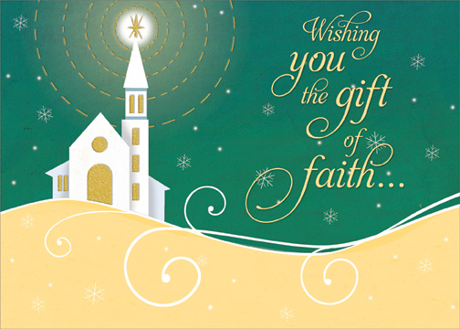 Shining Star Gift Of Faith Religious Christmas Card By