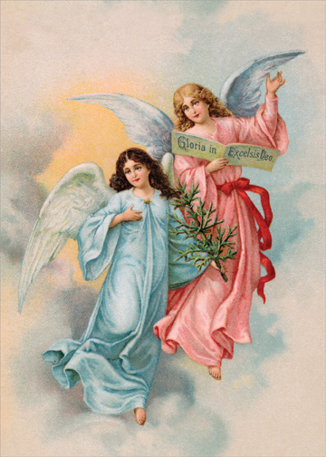 Two Angels In Clouds Religious Christmas Card By Designer