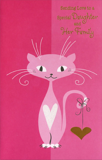 Happy valentines day daughter greeting card infocard pink cat with gold heart daughter valentine s day card by freedom m4hsunfo Image collections