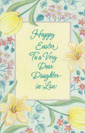 Flowers And Blue Foil Lettering Daughter In Law Easter