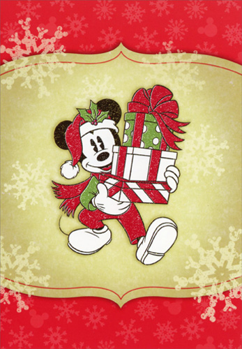 Mickey Mouse Carrying Presents Disney Christmas Card By