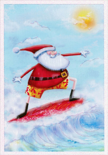 Santa Surfing Warm Weather Christmas Card By Image Arts