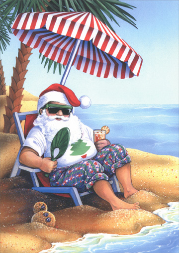 Santa On Beach Warm Weather Christmas Card By LPG Greetings