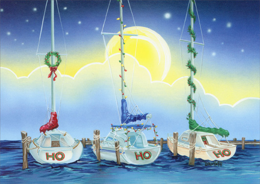 HO HO HO Boats Nautical Holiday Card By LPG Greetings