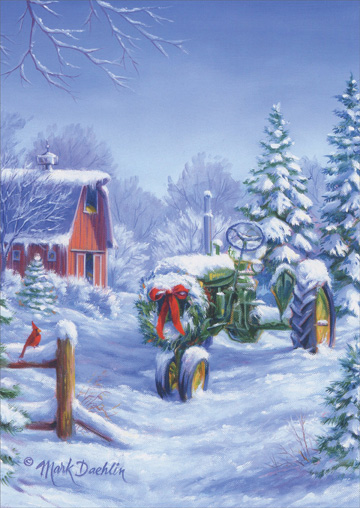 Snow Covered John Deere Tractor Box Of 18 Christmas Cards