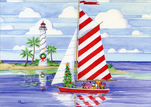 Christmas Harbor Nautical Christmas Card By LPG Greetings