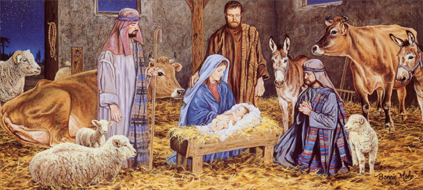 Manger Scene Slim Religious Christmas Card By LPG Greetings