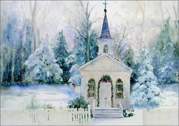 Snowy Church Religious Christmas Card By LPG Greetings