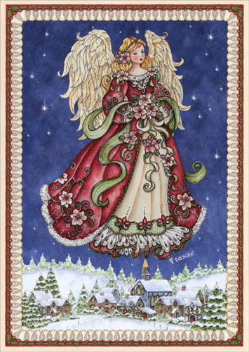 Angel In Blue Sky Christmas Card By LPG Greetings
