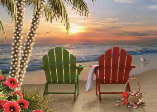 Two Adirondack Chairs Alan Giana Christmas Card By LPG