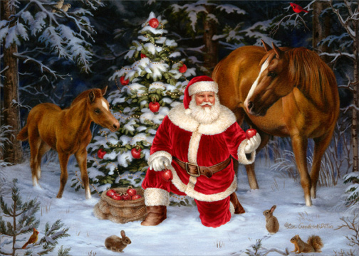 Santa With Two Horses Box Of 18 Christmas Cards By LPG
