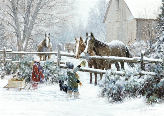 Boy And Girl Feeding Horses DR Laird Country Christmas