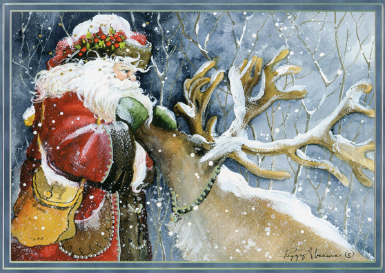 Old World Santa With Reindeer Silver Prismatic Foil Peggy