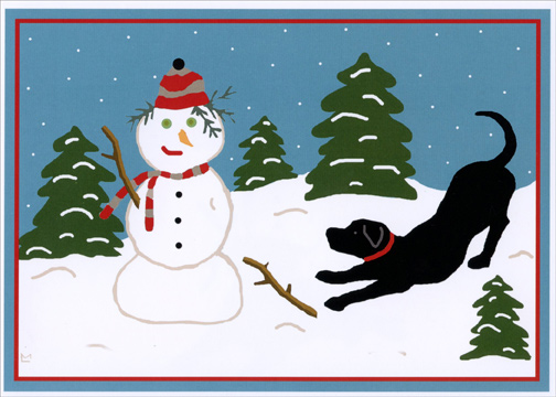 Snow Pals Black Lab And Snowman Laura Megroz Dog