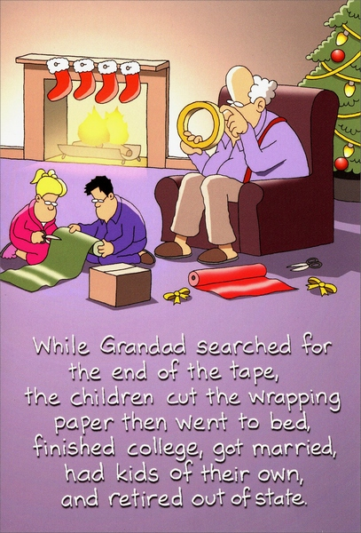 Grandad Gift Wrapping Box Of 12 Funny Christmas Cards By