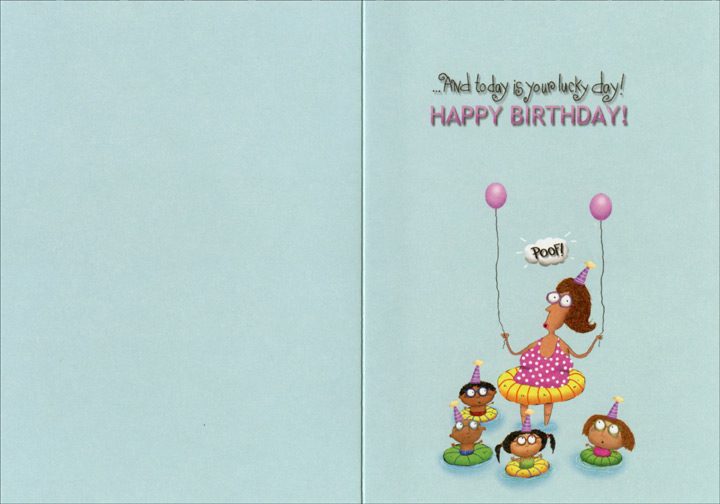 Kids In Swimming Pool Funny Humorous Birthday Card By Oatmeal Studios