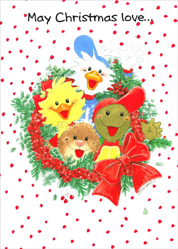 Suzys Zoo Wreath Christmas Card By Paper Magic