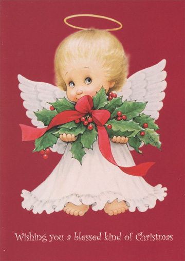 Angel Child Holding Holly Ruth Morehead Christmas Card By