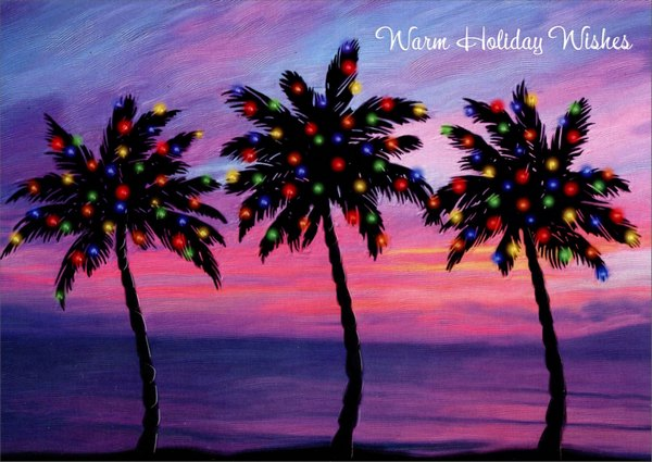 Three Palm Trees Warm Weather Christmas Card By Red Farm