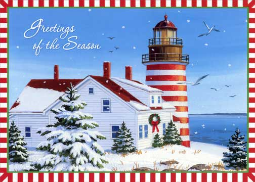 Lighthouse With Red And White Border Nautical Christmas
