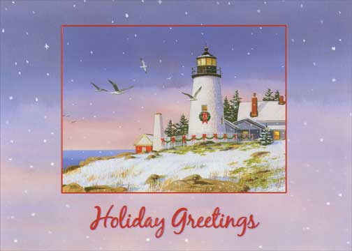 Holiday Greetings Lighthouse Coastal Christmas Card By Red