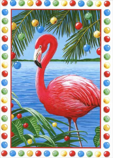 Pink Flamingo Box Of 18 Tropical Christmas Cards By Red