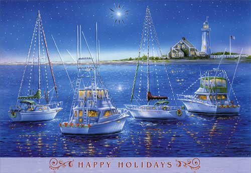 Sailboats And Yachts Box Of 18 Nautical Christmas Cards By