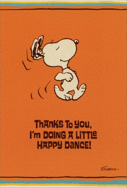 Snoopy Happy Dance Peanuts Thank You Card By Sunrise Greetings