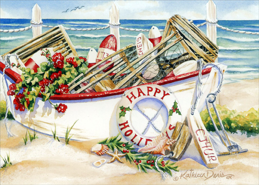 Holiday Boat Box Of 18 Nautical Christmas Cards By LPG