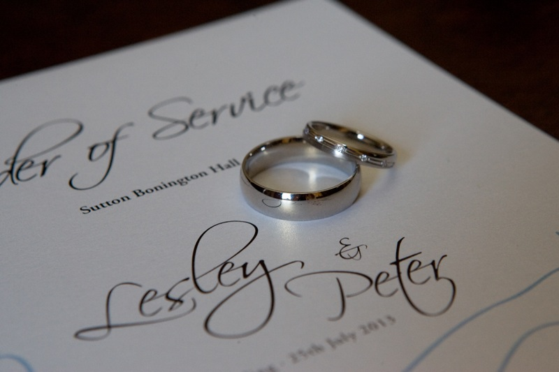 Wedding Rings on Order of Service
