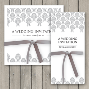 Damask Wedding Invite with Ribbon - DL and Square format