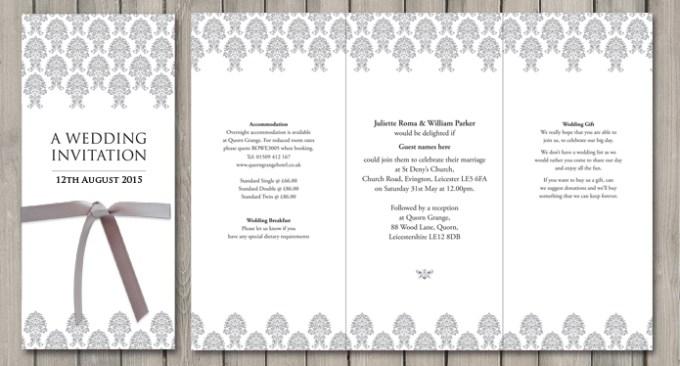 Damask wedding stationery