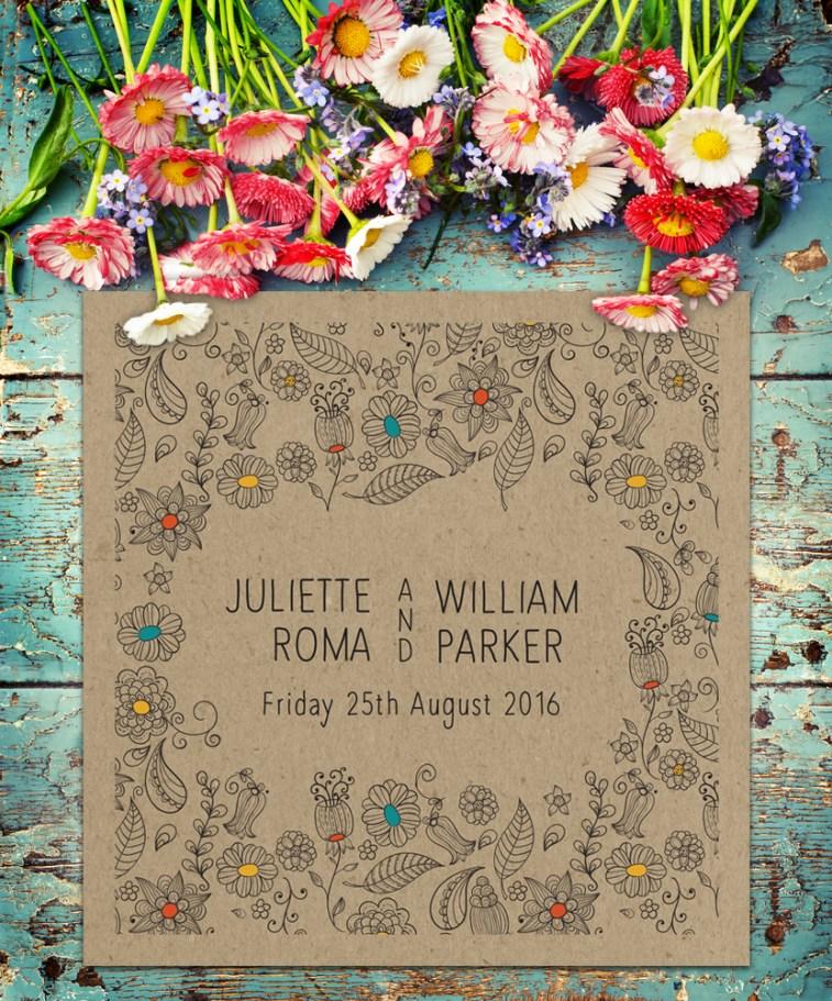 Natural Square wedding invitation