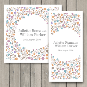 Primrose Wedding Stationery printed in autumnal colours