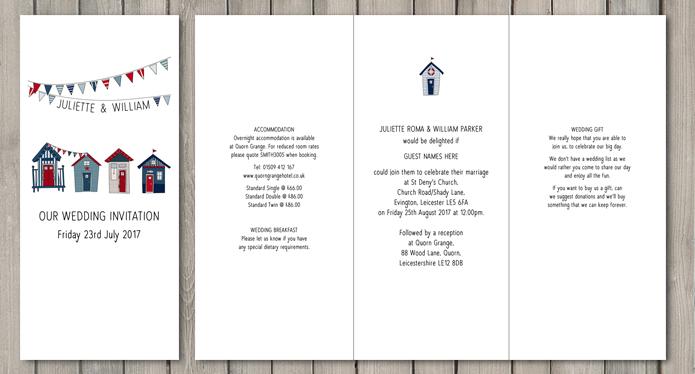 Beach Hut DL wedding stationery