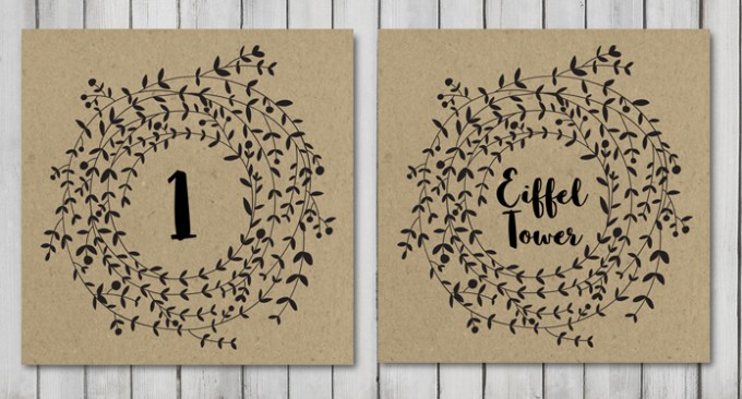 Wreath Wedding Table Names/Numbers