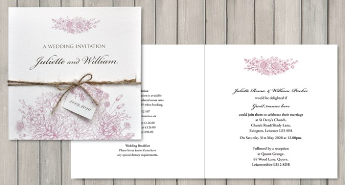 Botanical Garden White Square Wedding Invite