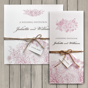 Botanical Garden Wedding invitations tied with twine