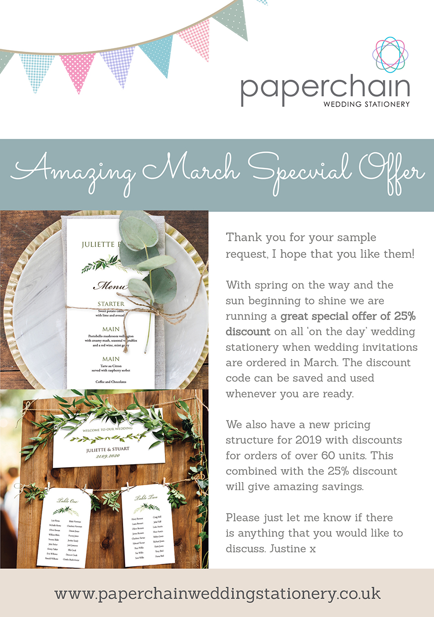 'on the day' wedding stationery