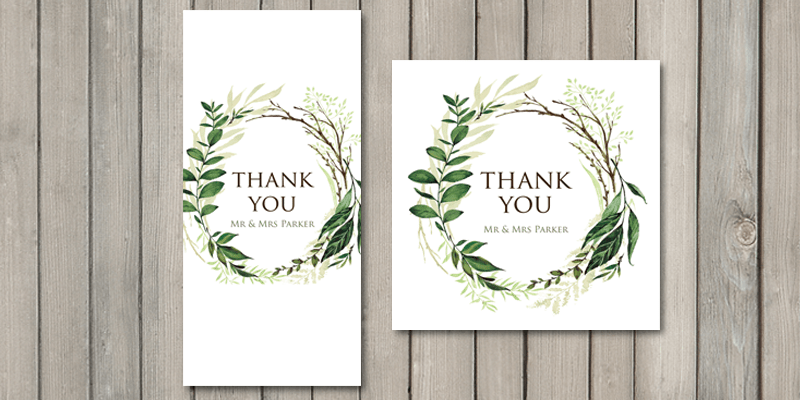 Wedding thank you cards are a perfect end to the Greenery wedding stationery set.