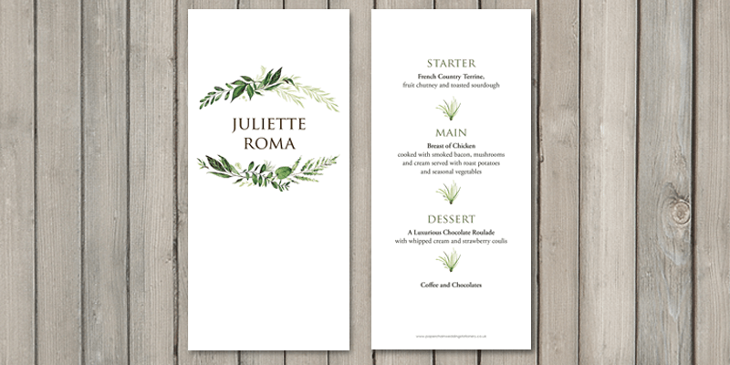 Greenery wedding place card and individual menu will gives guests all of the table information they need.